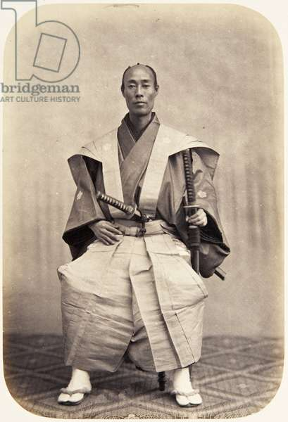 Portrait of a thirty–seven–year–old Japanese man named Horie Rokugorō, a samurai and officer (performing the function of censor) on the 1864 Ikeda mission to France, 1864 (albumen print)