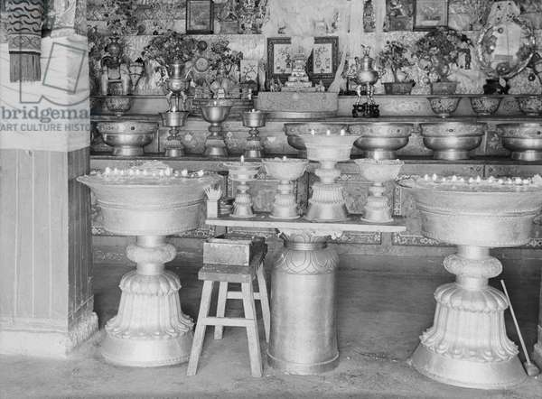 Three storey chorten containing the tomb of the 13th Dalai Lama in the Potala Palace, Lhasa, Tibet, 22nd November 1936 (b/w photo)
