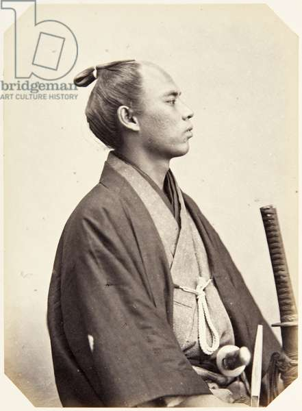 Portrait of a twenty–six–year–old Japanese man named Uragami Sasuke, a samurai and member of the 1864 Ikeda mission to France, employed as a domestic attendant of the chief envoy, 1864 (albumen print)
