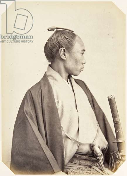 Portrait of a twenty–three–year–old Japanese man named Tamaki Mitsuya, a samurai and member of the 1864 Ikeda mission to France, employed as a domestic attendant of one of the assistant envoys, 1864 (albumen print)