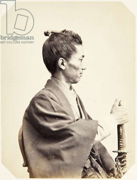 Portrait of a Japanese man (named Uchida Tsunesaburō), a samurai and commander of the Japanese fleet stationed in the Netherlands, 1864 (albumen print)