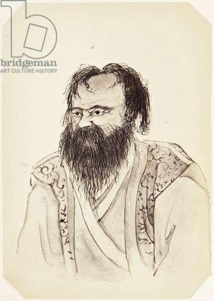 Photograph of a drawing by Shioda Saburō of an Ainu man, 1864 (albumen print)