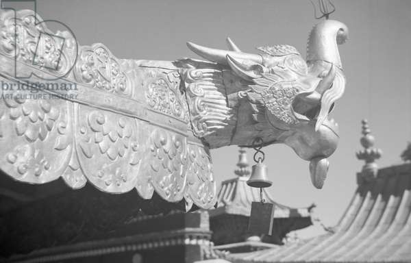 Gilt copper pagoda roof of the tomb of the 13th Dalai Lama, on the roof of the Potala Palace, Central Lhasa, Tibet, 1936 (b/w photo)
