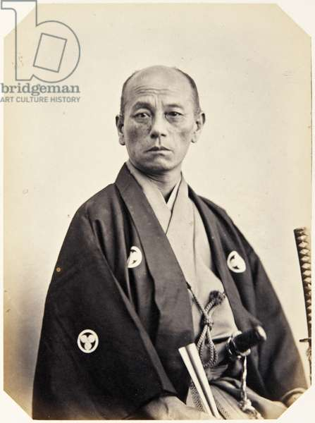 Portrait of a Japanese man named Takama Ōsuke, a samurai and member of the 1862 Takenouchi mission to Europe, employed as a domestic attendant of the chief envoy, 1862 (albumen print)