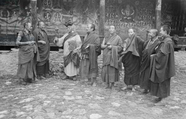 Group of monks outside Kargyu Monastery, Chumbi Valley Region, Tibet, 2nd August 1936 (b/w photo)