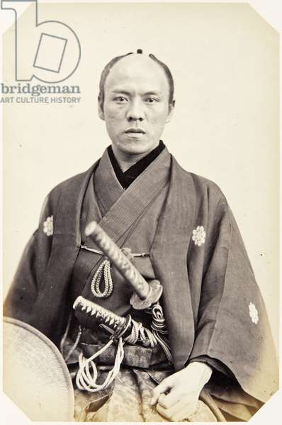 Portrait of a thirty–one–year–old Japanese man named Yatsu Kanshirō, a samurai and officer (performing the function of censor) on the 1864 Ikeda mission to France, 1864 (albumen print)