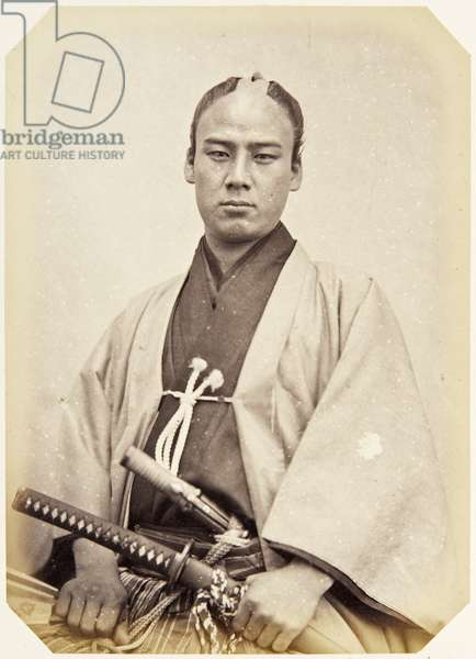 Portrait of a twenty–three–year–old Japanese man named Iwamatsu Tarō, a samurai and member of the 1864 Ikeda mission to France, employed as a personal attendant of one of the assistant envoys, 1864 (albumen print)