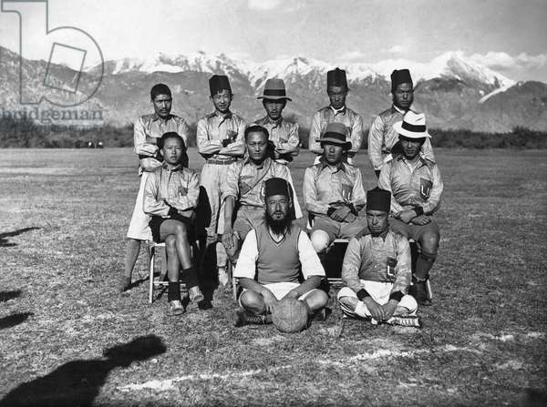 The Lhasa United football team who challenged the British Mission to a game of football, Lhasa, Tibet, 20th October 1936 (gelatin silver print)