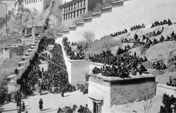 New year ceremony of Namdrotagtse, the 'Sky Dancing Rope Game' or Chakhen Tagshur, the 'Sliding down the rope like a bird', Lhasa, Tibet, 13th February 1937 (b/w photo)