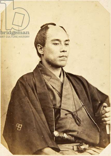 Portrait of a Japanese man named Fukuzawa Yukichi, a samurai and officer on the 1862 Takenouchi mission to Europe, employed as an interpreter of Dutch and English, 1862 (albumen print)