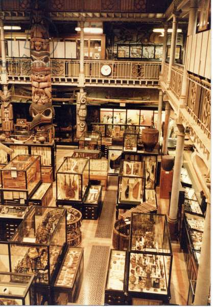 Interior view of the Lower Gallery of the Pitt Rivers Museum, looking towards the Totem Poles, c.1983-4 (photo)