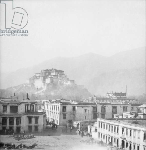 The Potala Palace from the southeast taken from the heart of the city, Lhasa, Tibet, c.1936-50 (b/w photo)