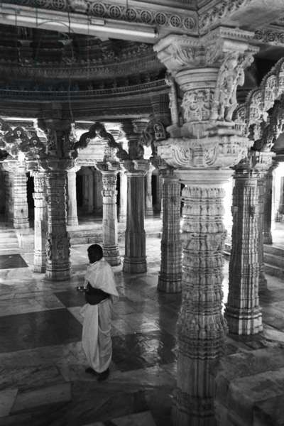Interior view of the ornately carved stonework of one of the five temples in the Dilwara Jain temple complex at Mount Abu, Rajasthan, India, September – October 1983 (b/w photo)
