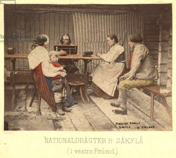 A Finnish family seated at a table, Vaasa, before 1873 (hand-tinted albumen print)