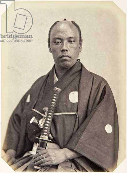 Portrait of a thirty–seven–year–old Japanese man named Nishi Kichijūrō, a samurai and officer on the 1864 Ikeda mission to France, employed as an interpreter of Dutch, 1864 (albumen print)