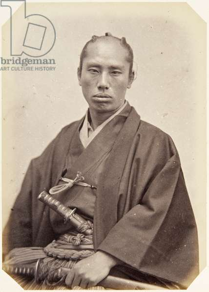 Portrait of a thirty–eight–year–old Japanese man named Masuda Takanosuke, a samurai and officer on the 1864 Ikeda mission to France, 1864 (albumen print)