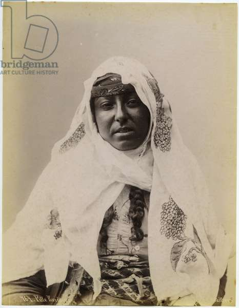 Studio portrait of a Kurdish woman wearing a head scarf, c.1880-90 (albumen print)