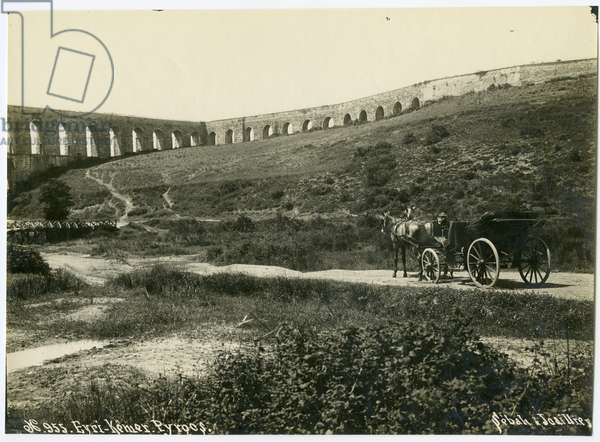 View of the aqueduct at Eyri-Kemer with horse-drawn open carriage in foreground, c.1890 (gelatin silver print)