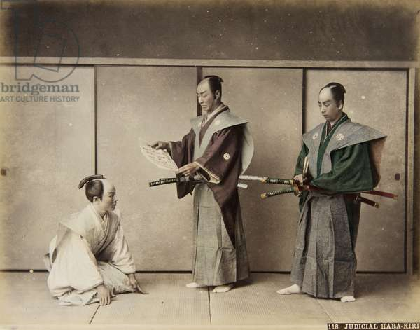 118 Judicial Hara-Kiri, from an album titled 'Views & Costumes of Japan', c.1886 (hand-coloured albumen print)
