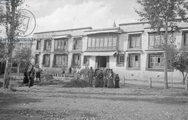 Tsarong's house in Lhasa, Tibet, 1936 (b/w photo)