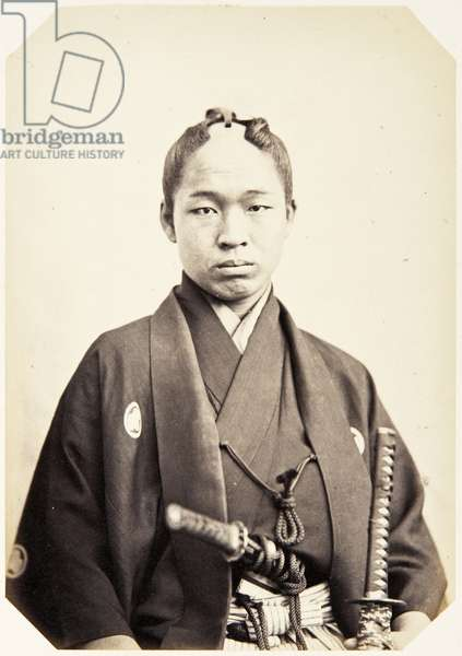 Portrait of a Japanese man named Nagamochi Gorōji, a samurai and member of the 1862 Takenouchi mission to Europe, employed as a personal attendant of Shibata Sadatarō, 1862 (