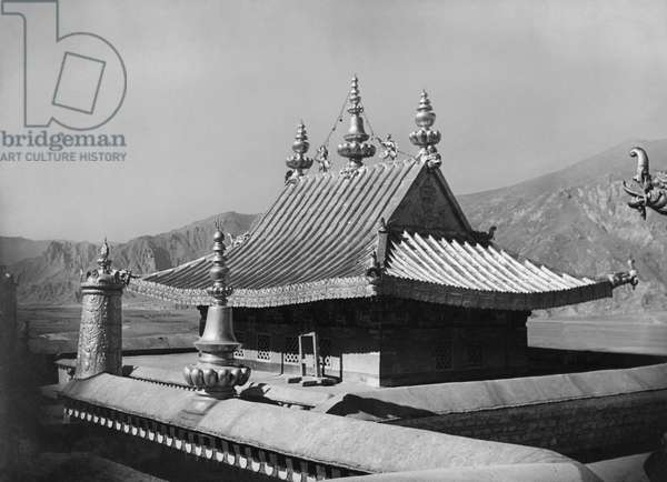 Copper pagoda covering the 13th Dalai Lama's tomb on the roof of the Potala Palace, Lhasa, Tibet, 22nd Novemebr 1936 (gelatin silver print)
