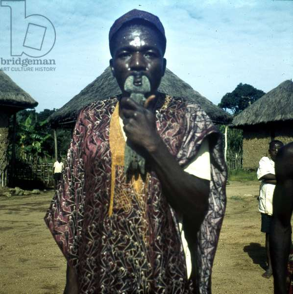 Man playing 'langa' flute, c.1963 (transparency agfachrome)