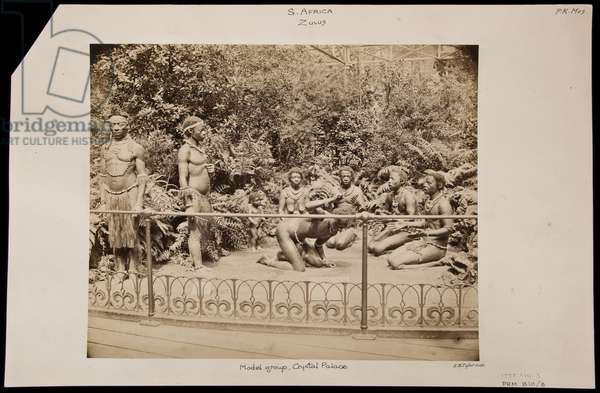 Models of Zulu people in naturalistic setting at the Great Exhibition at Crystal Palace, c.1863 (albumen print)