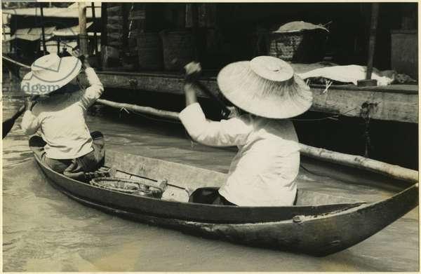 Water market on a river, Ayutthaya, Thailand, 1937 (bromide print)