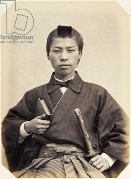 Portrait of a seventeen–year–old Japanese youth named Okkotsu Wataru, a samurai and member of the 1864 Ikeda mission to France, employed as the officers' hairdresser, 1864 (albumen print)