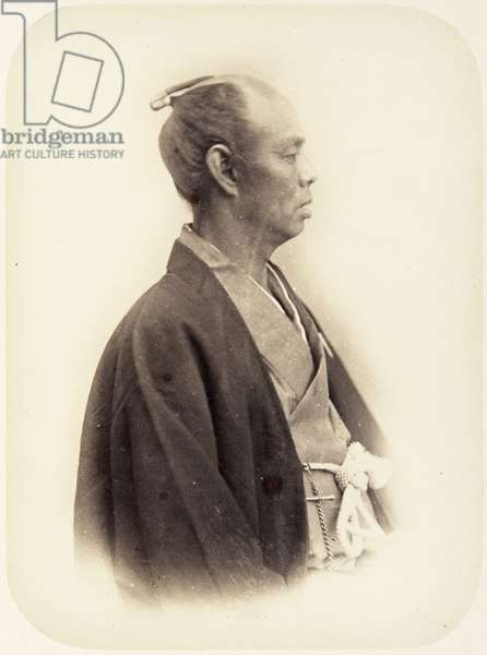 Portrait of a forty–four–year–old Japanese man named Kawazu Sukekuni, also known as Kawazu Izu no kami, a samurai and assistant envoy of the 1864 Ikeda mission to France, 1864 (albumen print)