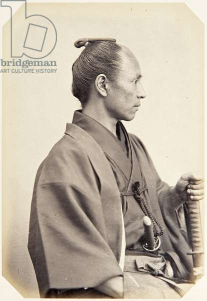Portrait of a thirty–four–year–old Japanese man named Harada Goichi, a samurai and officer on the 1864 Ikeda mission to France, employed as a translator of Dutch, 1864 (albumen print)