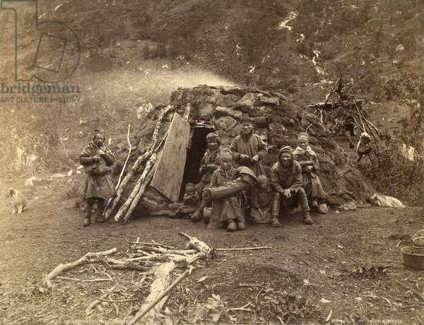 Norwegian Suoni in front of a peat hut, c.1890 (albumen print)