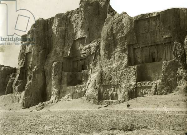 Rock relief carvings around the entrances to the tombs of Darius I, Artaxerxes, and Darius II at Naqsh–i Rustam, Iran, c.1900 (gelatin silver print)