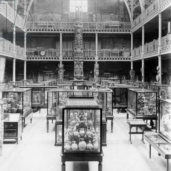 View of display cases and totem–pole in the Court of the Pitt Rivers Museum (b/w photo)