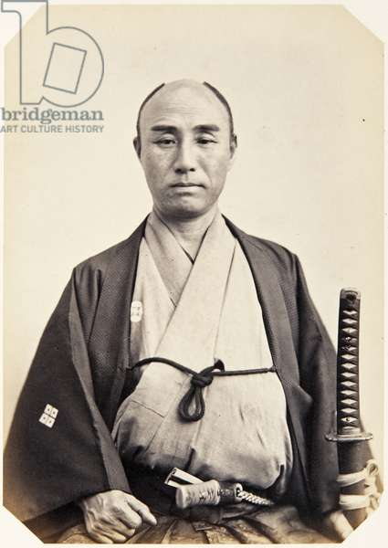Portrait of a Japanese man named Kurosawa Shinzaemon, a samurai and member of the 1862 Takenouchi mission to Europe, employed as a personal attendant of the inspector/recorder (official spy), 1862 (albumen print)