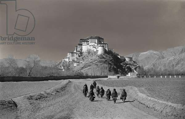 The Potala from the east, showing the round-walled watchtower, Taktshang Gormo, Lhasa, Tibet, 10th February 1937 (gelatin silver print, retouched)