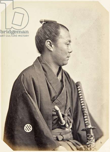 Portrait of a twenty–five–year–old Japanese man named Sugiura Aizō, a samurai and officer on the 1864 Ikeda mission to France, 1864 (albumen print)