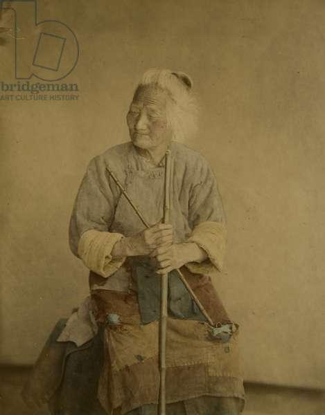 Portrait of an Old Woman, c.1875 (hand-coloured albumen print)