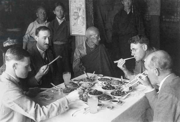 The British Mission lunch with the Lord Chamberlain, or Chikyak Khenpo, Lhasa, Tibet, 27th October 1936 (gelatin silver print)