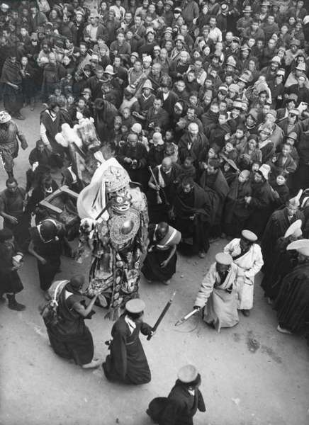 Image of Palden Lhamo (or Penden Lhamo) the chief protectress of Buddhism and the Dalai Lamas, being carried around Lhasa, Tibet, 28th November 1936 (gelatin silver print)