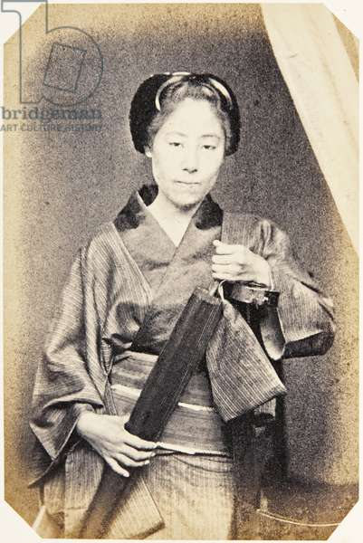 Portrait of a Japanese woman wearing traditional dress of kimono, c.1860 (albumen print)