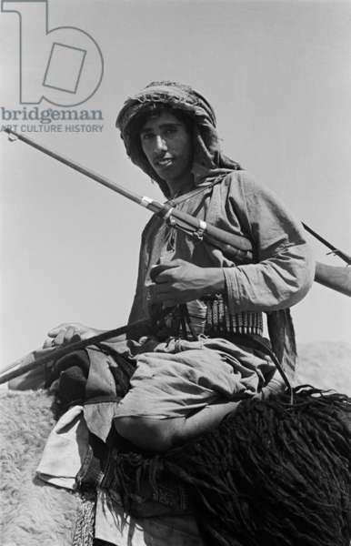 Portrait of Salim bin Kabina, one of Wilfred Thesiger's travelling companions, sitting astride a saddled camel near Al Qabil, at the southern end of the mountain Jabal Hafit (Jebel Hafeet), Oman, April 5–6, 1949 (b/w photo)