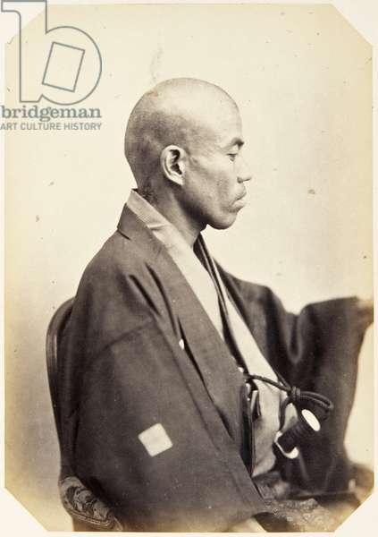 Portrait of a Japanese man named Mitsukuri Shūhei, a samurai and member of the 1862 Takenouchi mission to Europe, employed as an interpreter (and physician), 1862 (albumen print)