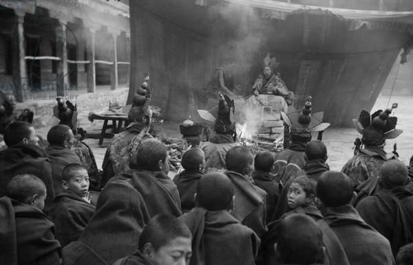 View of 'Disease Chasing' ceremony at Kundeling Monastery, Central Lhasa, Tibet, 10th December 1936 (b/w photo)