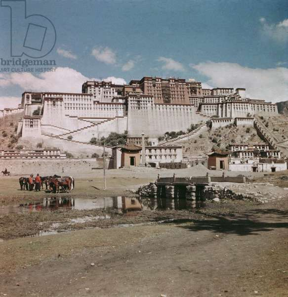 The Potala from the south with the Zhol settlement at its base, Lhasa, Tibet, 1936-50 (colour transparency)