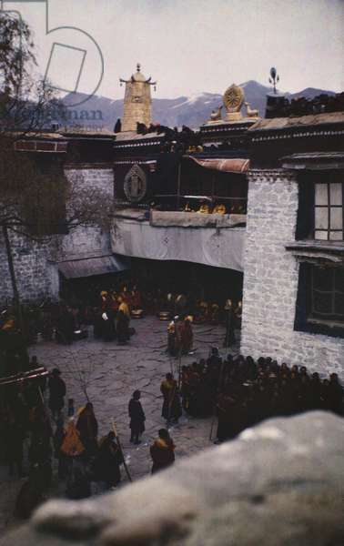 View from Doring house of the entrance of the Jokhang Temple, Tibet's most sacred shrine situated in the heart of Lhasa, March 1945 – early 1949 (colour transparency)