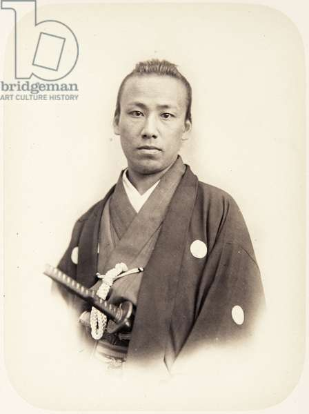 Profile portrait of a thirty–year–old Japanese man known as Kawada Sagami no kami, a samurai and assistant envoy of the 1864 Ikeda mission to France, 1864 (albumen print)