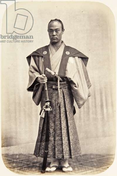 Portrait of a thirty–four–year–old Japanese man named Saitō Jirōtarō, a samurai and officer (performing the function of censor) on the 1864 Ikeda mission to France, 1864 (albumen print)