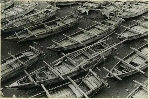 Fishing boats on a beach, Honshu, Izu Peninsula, Shizuoka, Japan, 1937 (bromide print)